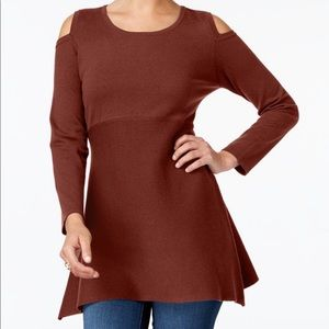 Style & Co Petite Cold-Shoulder Tunic Sweater